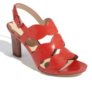 Via Spiga V-Emma red leather sandals heels 8.5